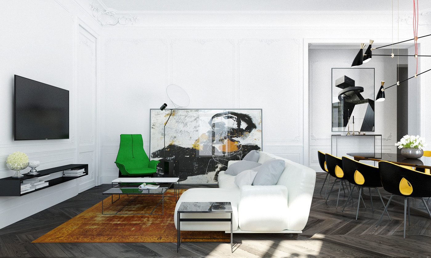 Modern apartment interior design with classic furniture for Modern interior design features