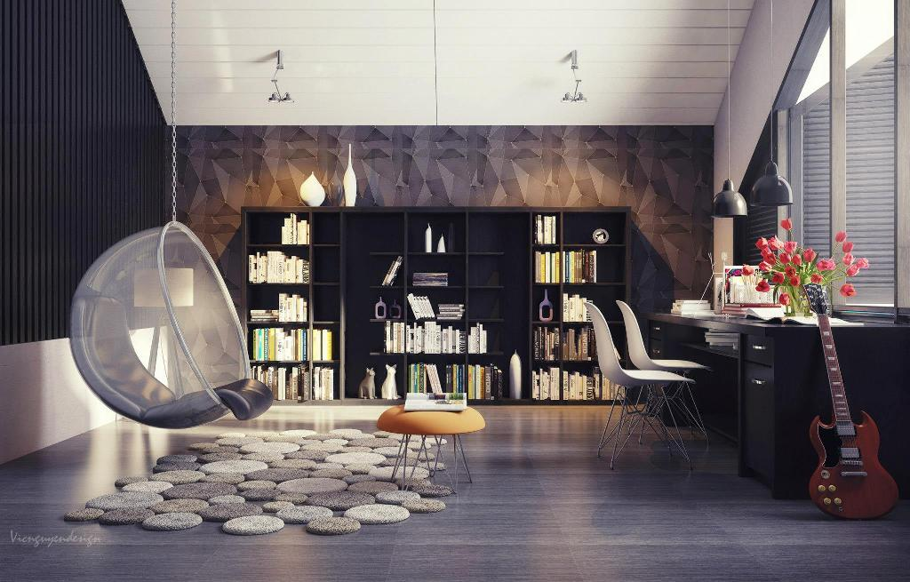 Sleek modern apartment interior design with modern style for Interior designs by ria