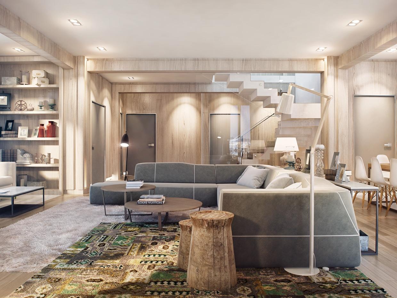 Open plan living room design with beautiful indoor gardening