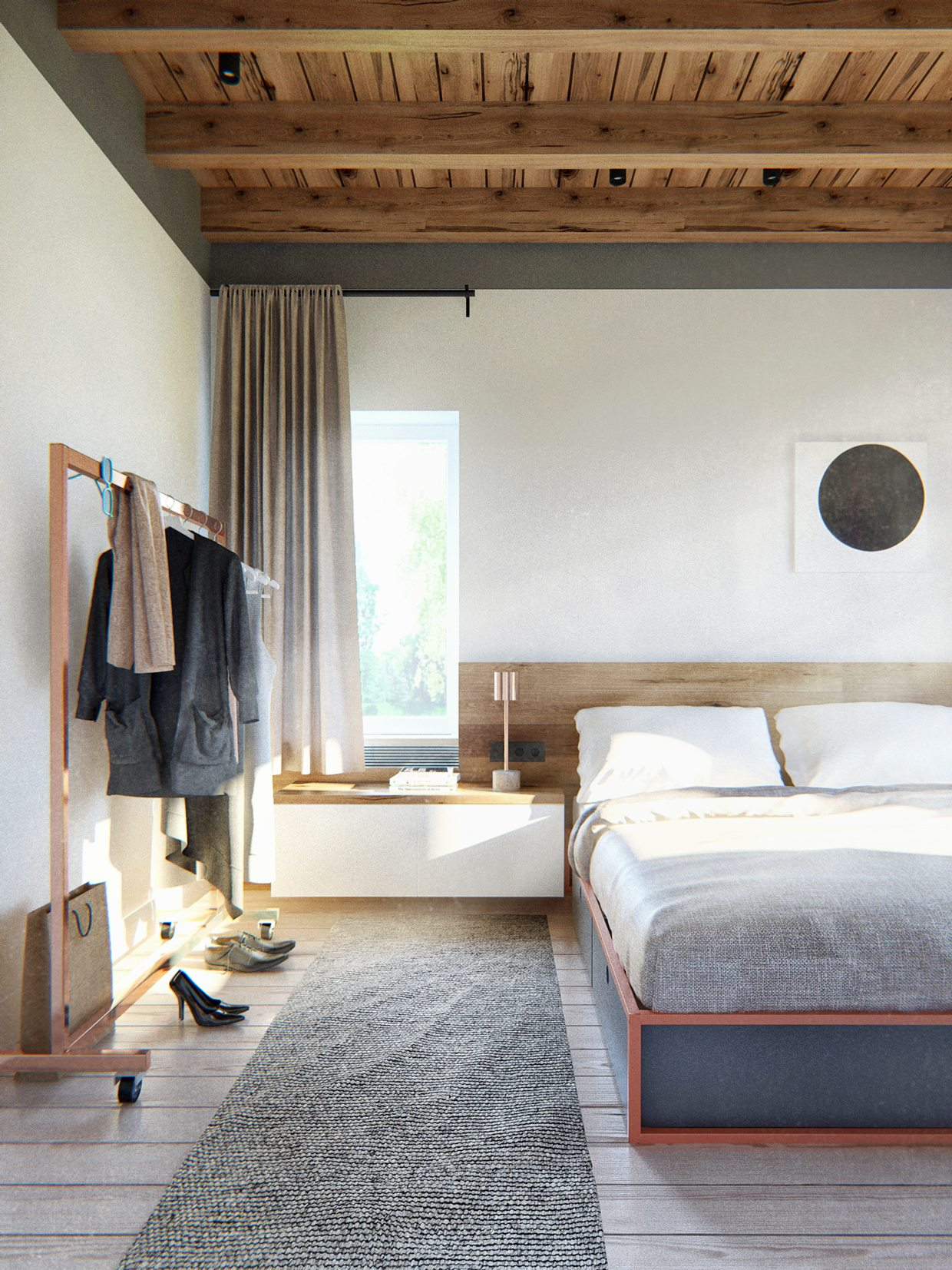 Contemporary bedroom with Scandinavian style