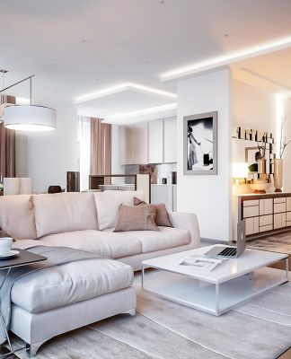 Neutral color living room design