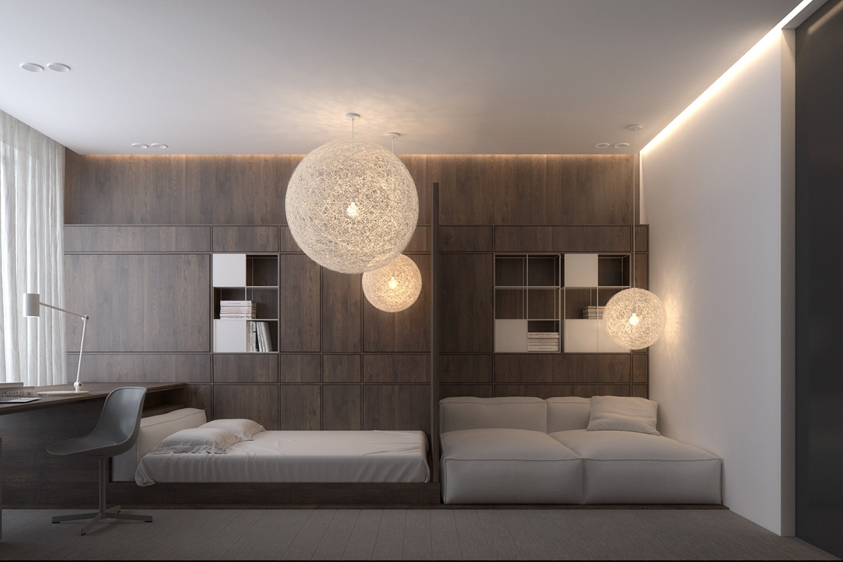 Dark interior style for bedroom