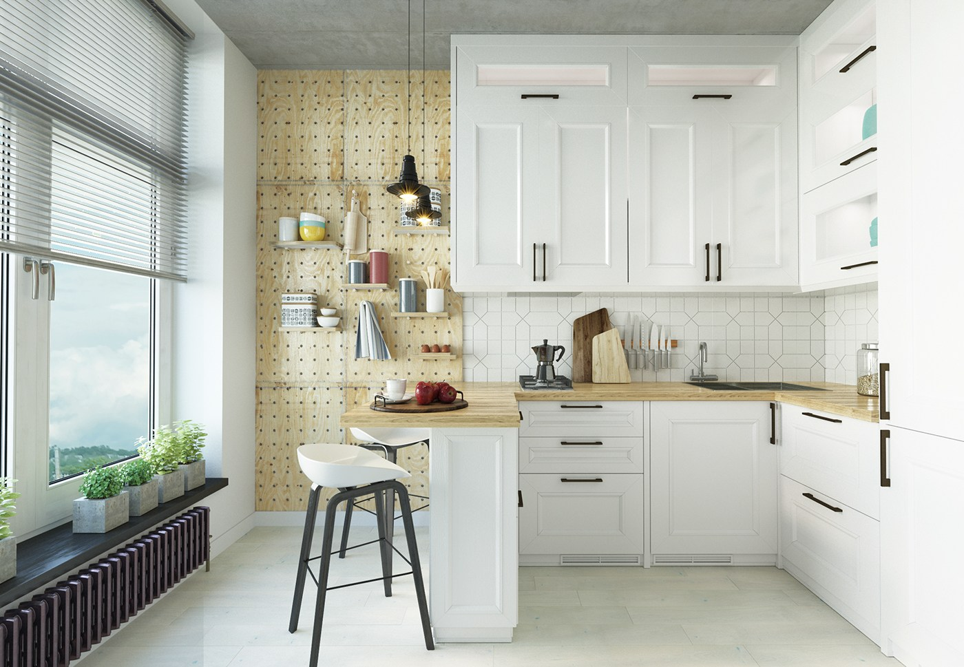 Small kitchen design with scandinavian style