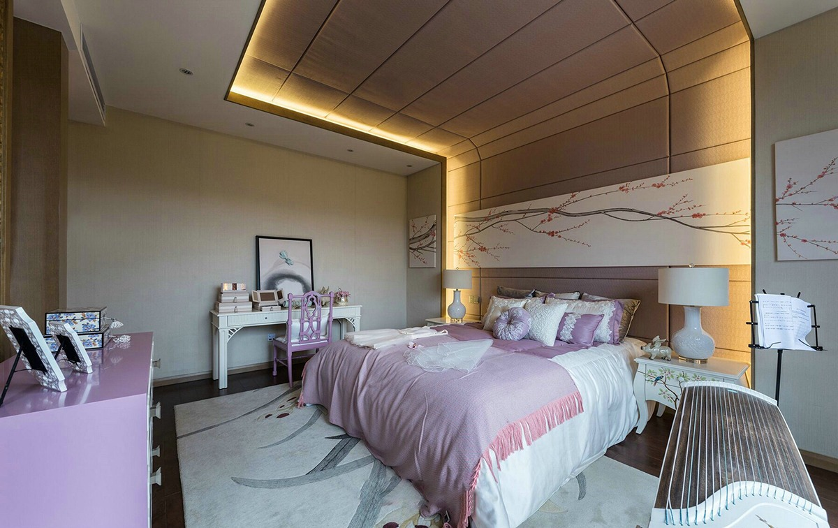 pink bedroom design with japanese style