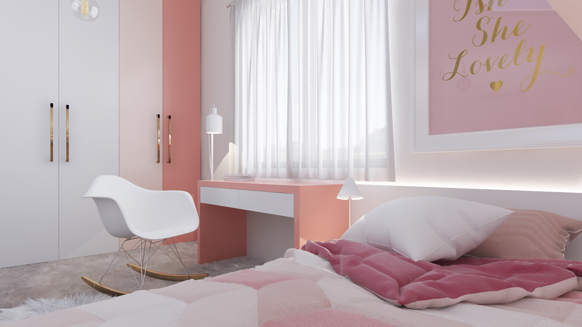 Pink Girls room ideas with minimalist concept