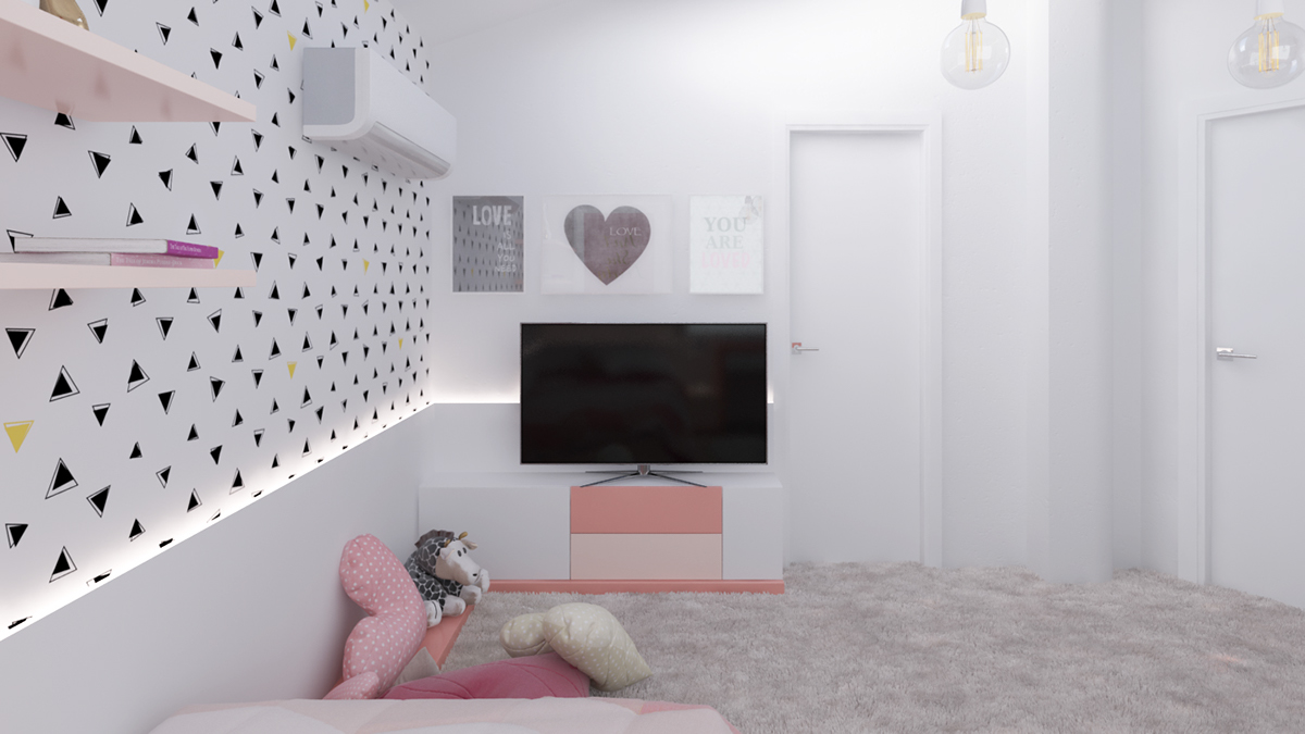 Teenage girls bedroom concept