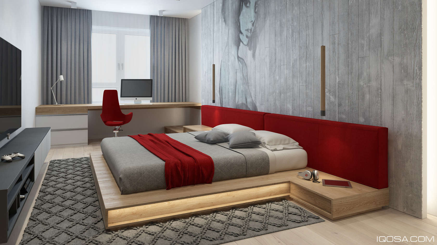 Red bedroom decorating ideas