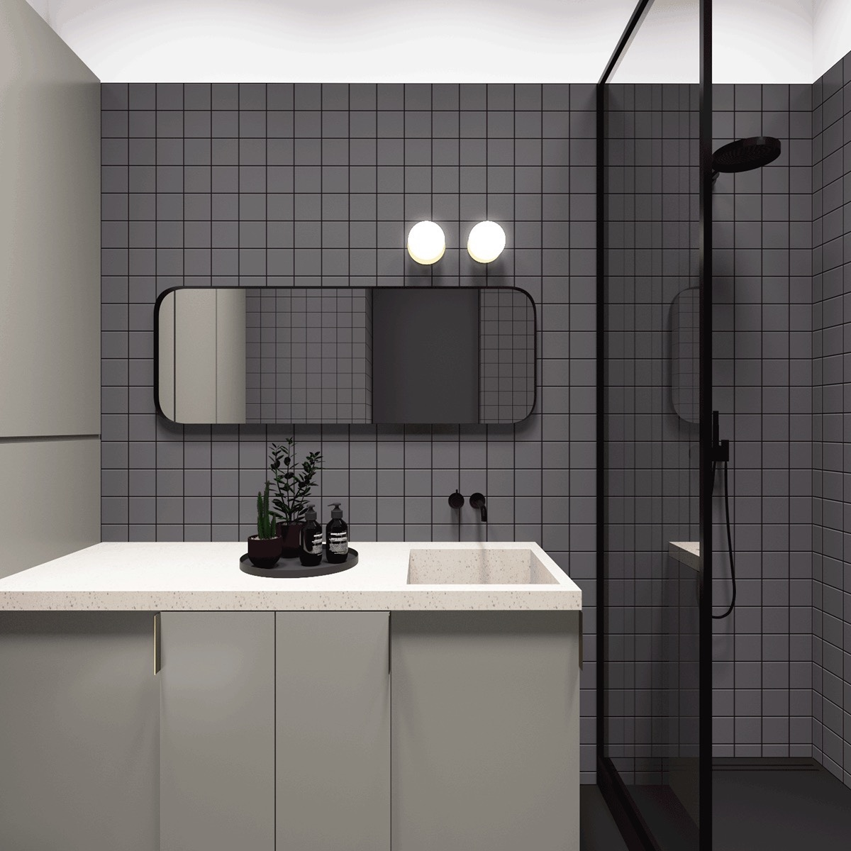 Creative bathroom design for small apartment