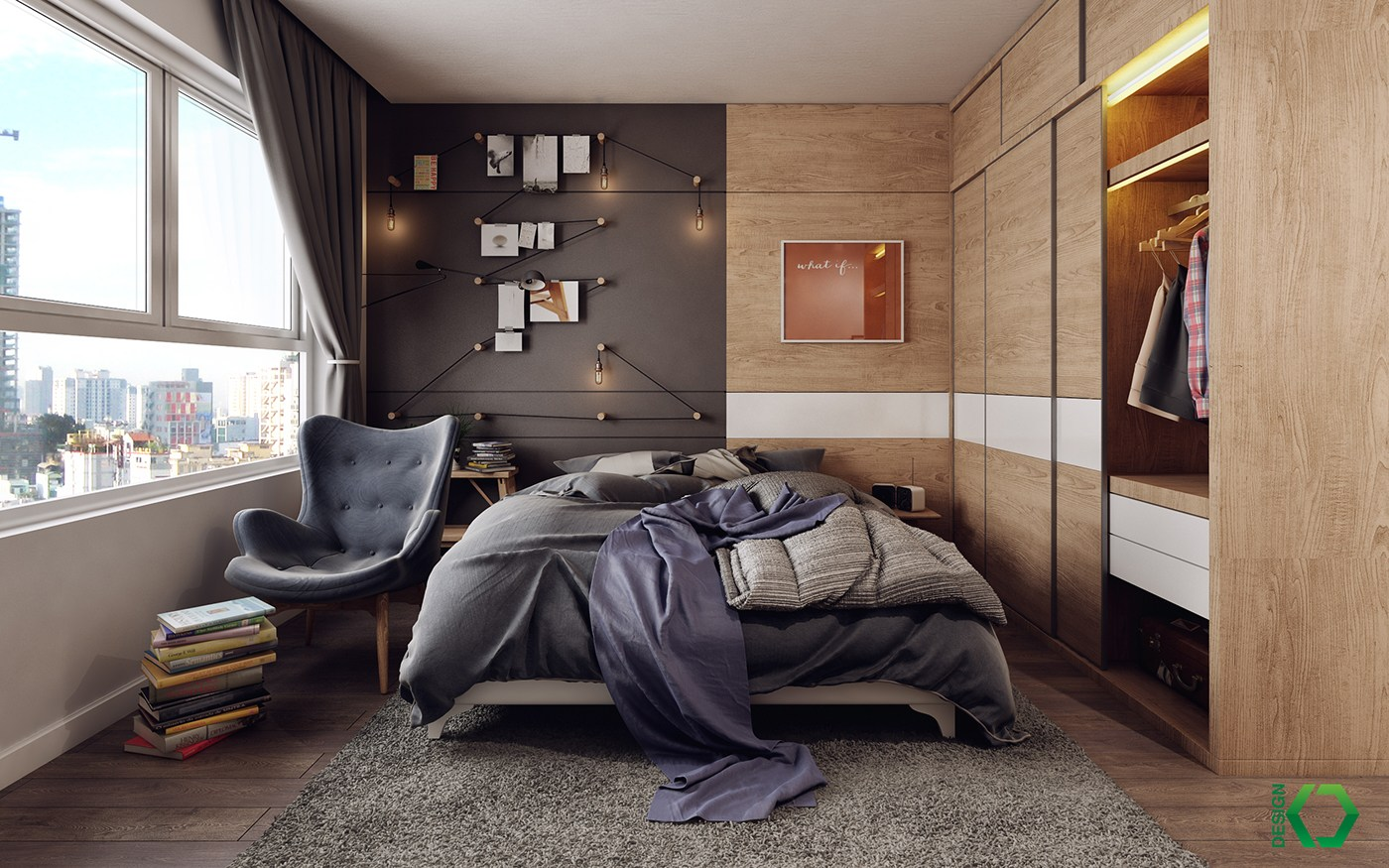 Scandinavian bedroom interior design. A Charming Nordic Apartment Interior Design by Koj Design