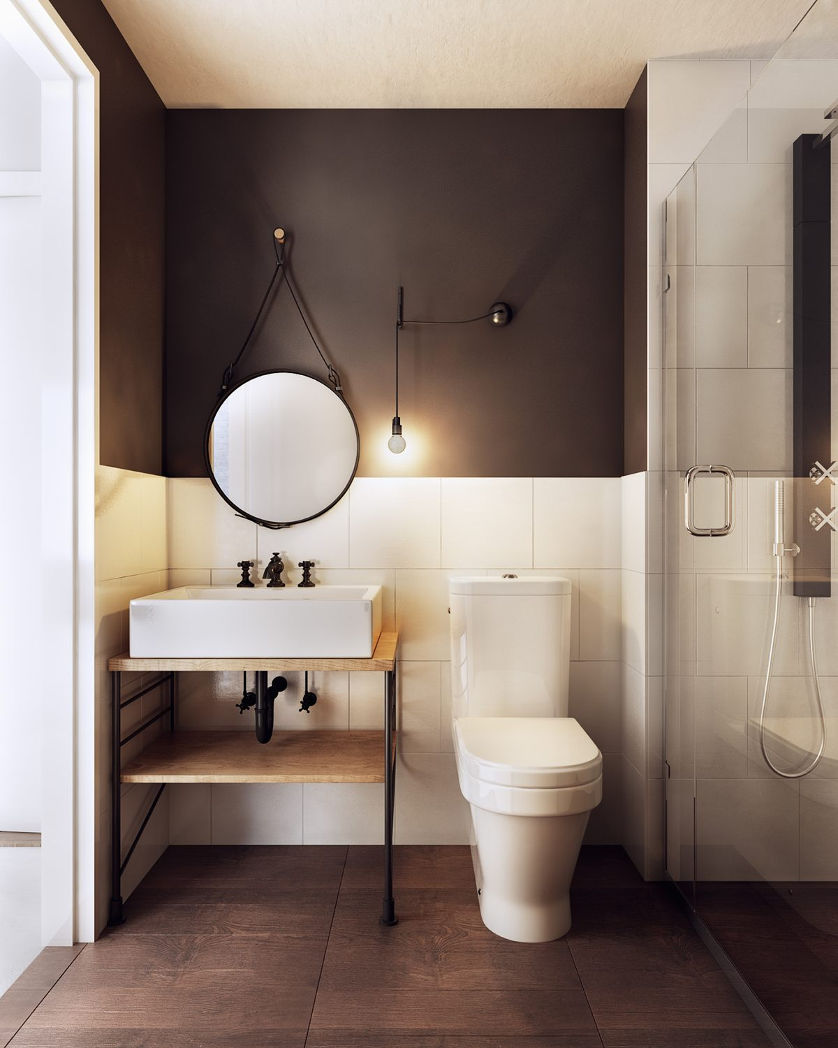 A charming nordic apartment interior design by koj design for Simple bathroom layout