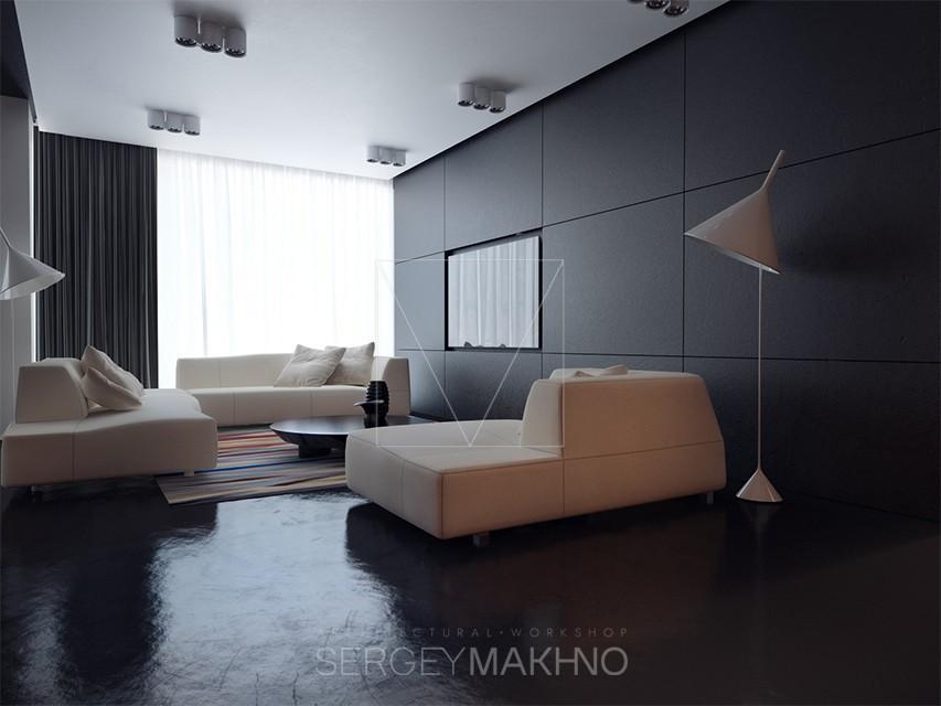 Dark apartment interior design style