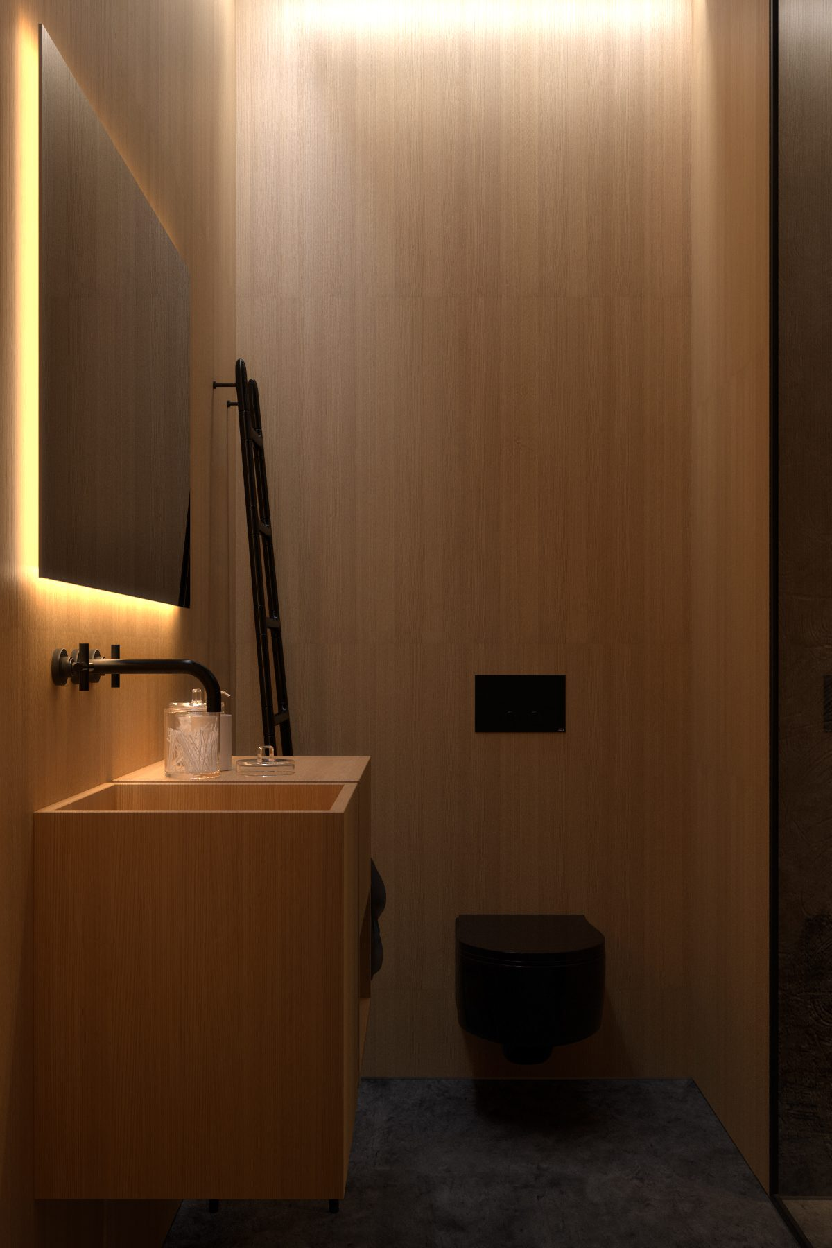 Dark bathroom interior style