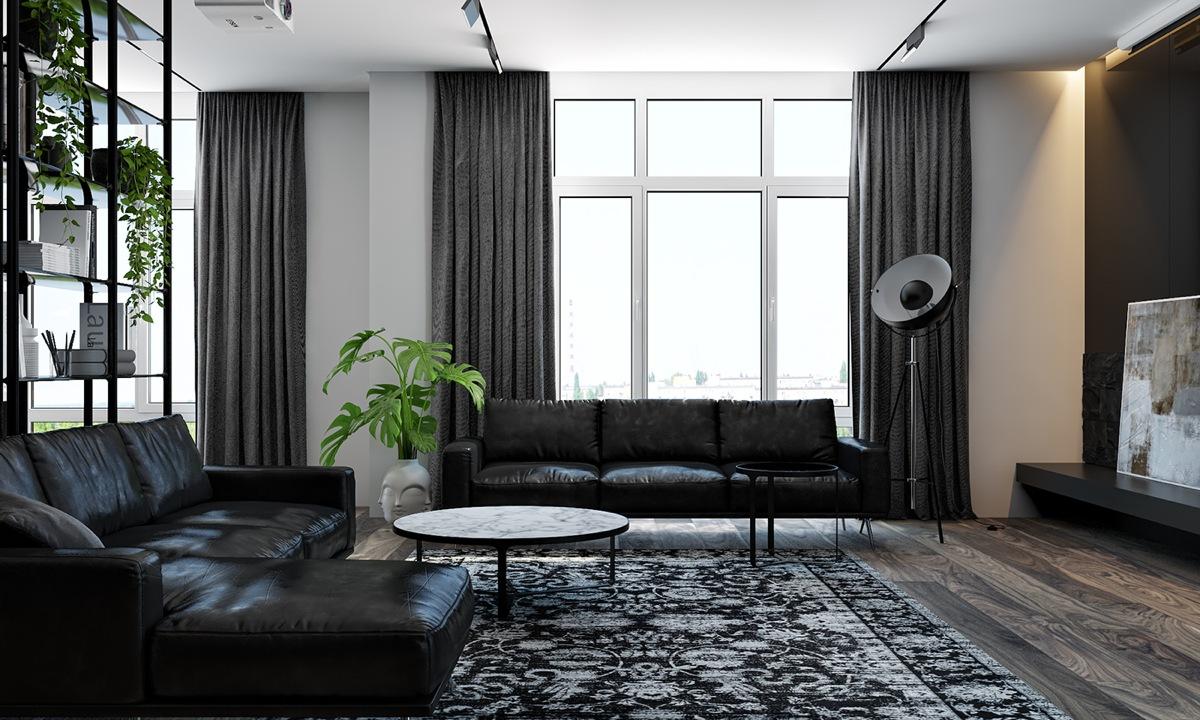 Majestic living room interior design ideas with black color