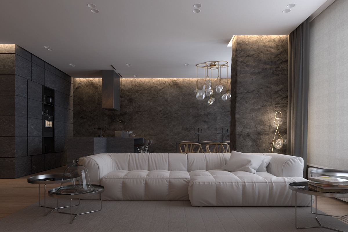 Luxurious apartment design with sexy dark interior style for Internal design
