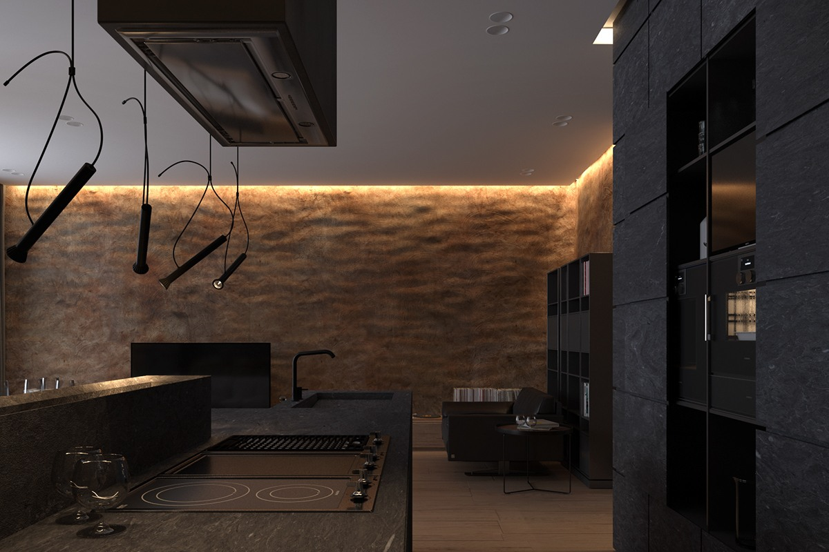 Dark kitchen interior design style
