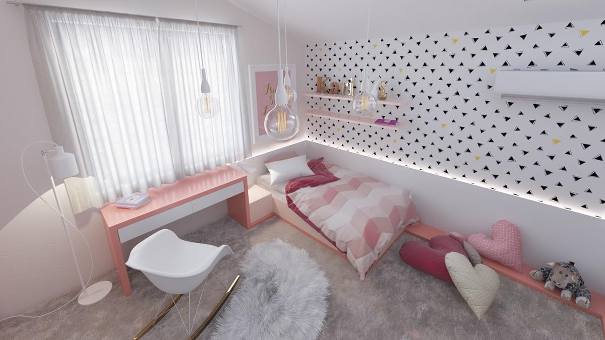 Minimalist concept for teenage room
