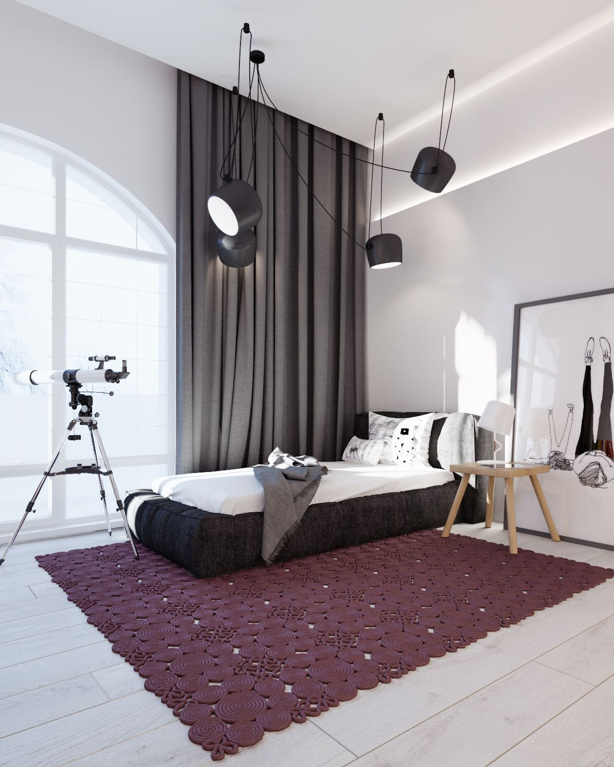 Make A Single Bedroom Special With A Super Stylish: Modern Stylish Apartment Interior Design In A Simplicity