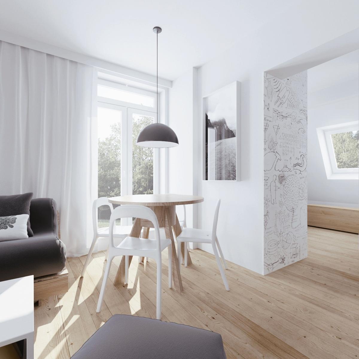 Minimalist apartment design with soft color scheme for Minimalist color scheme interior design