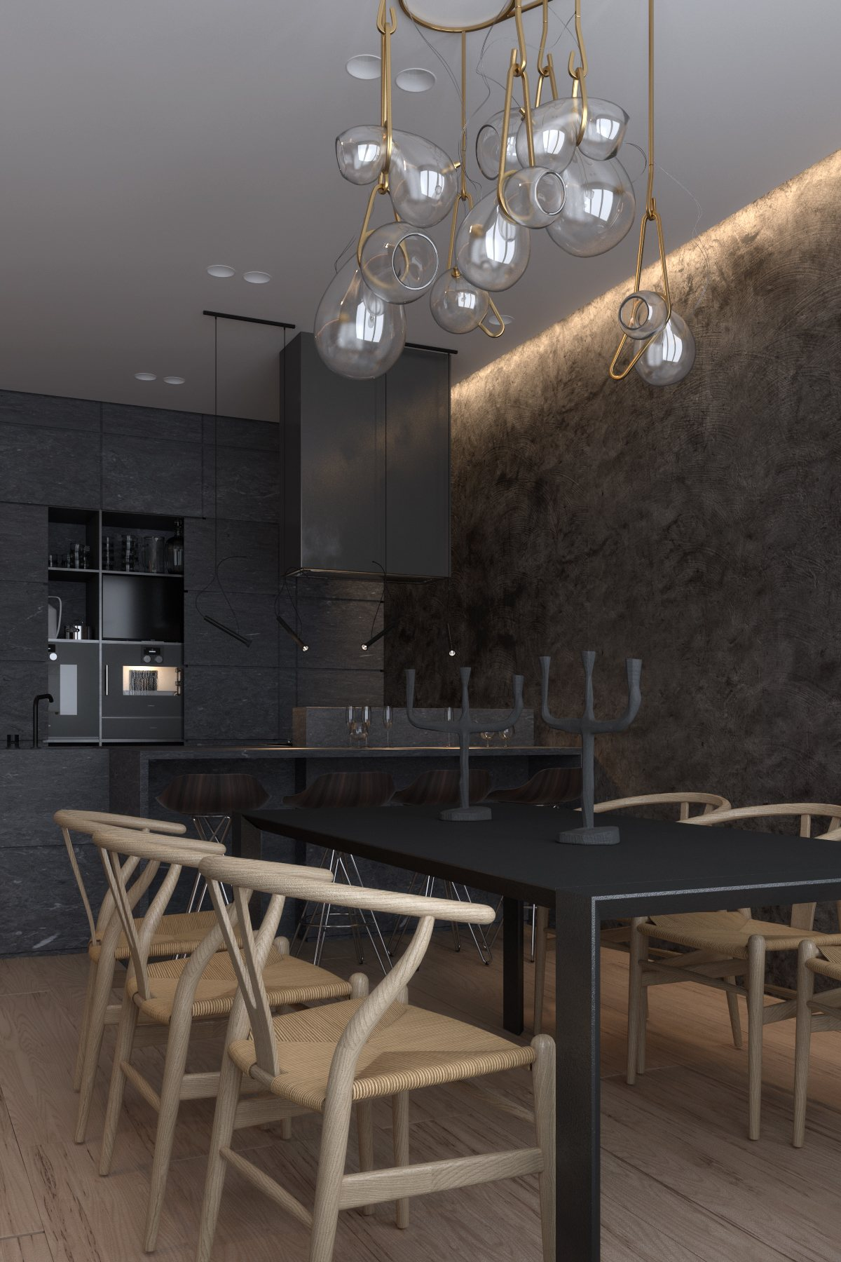 Luxury apartment design with unique chandelier