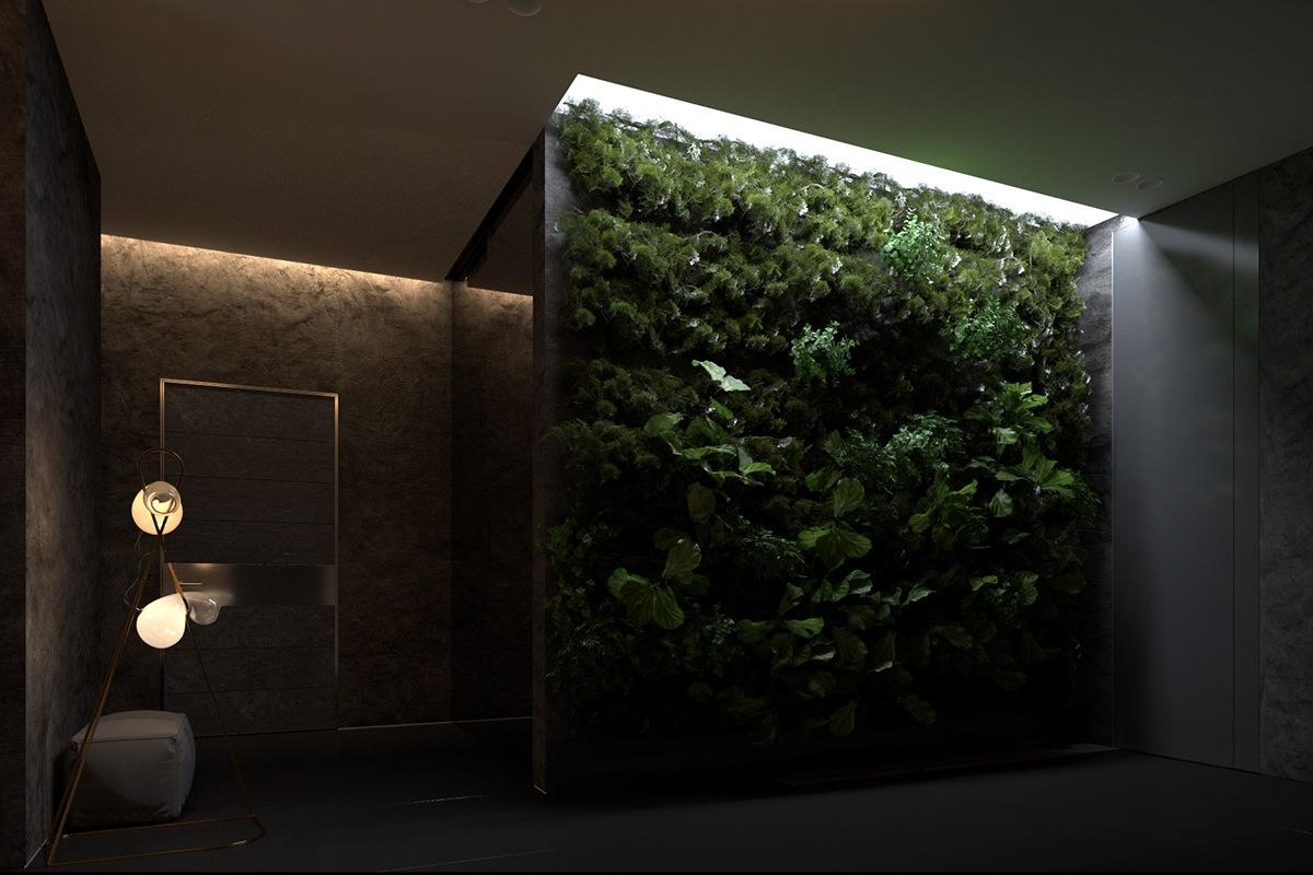 Indoor garden design with dark interior style