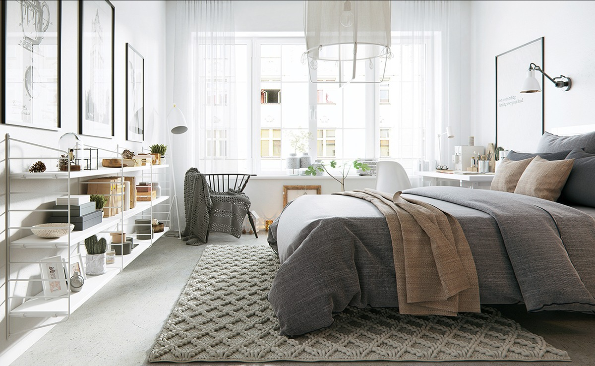 The beauty of nordic apartment interior design style for Designer inspired bedding