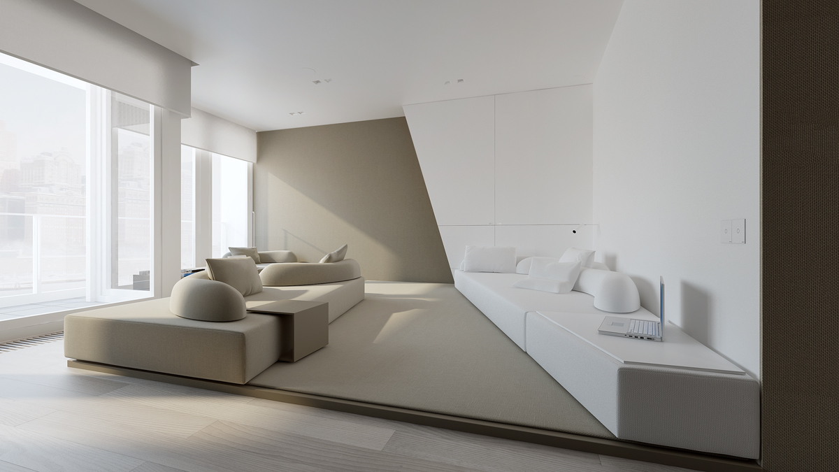 Minimalist apartment design with gray color paint