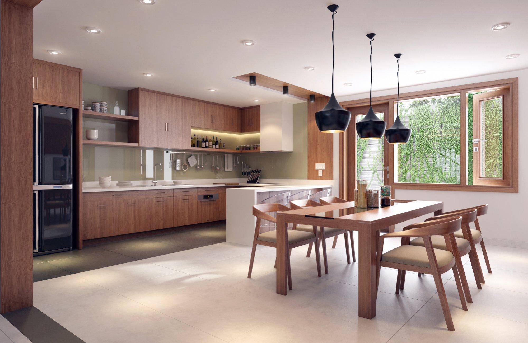 An open plan concept with beautiful indoor garden