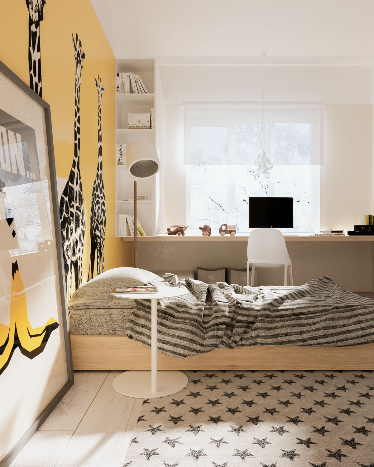 Modern interior style for kids bedroom