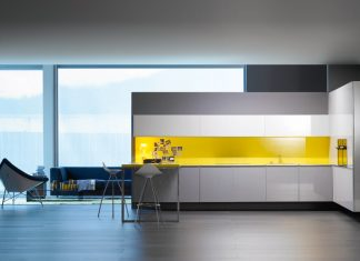 Yellow kitchen design
