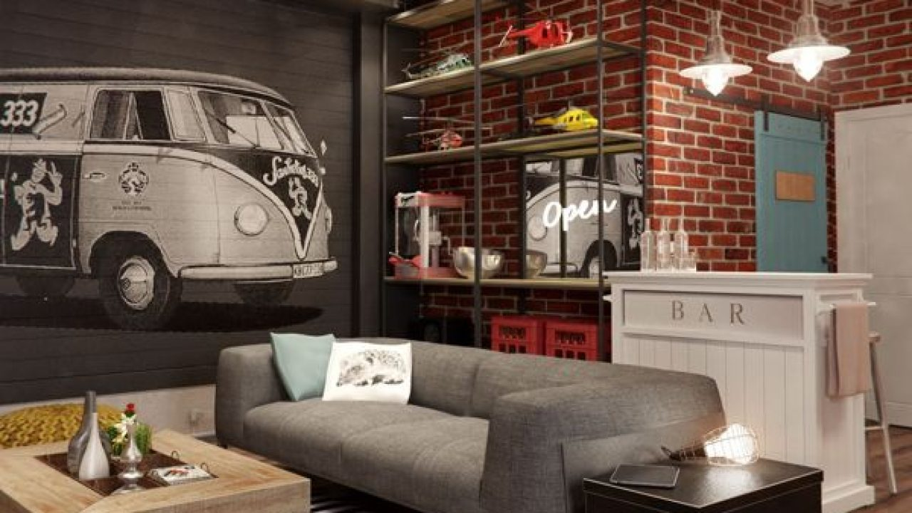 Masculine Apartment Design Idea With Vintage Interior Concept Roohome