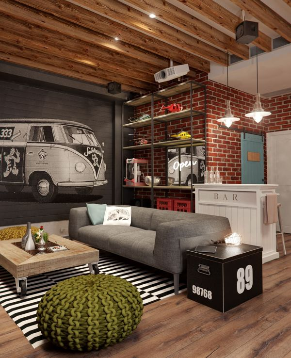 Masculine apartment design idea with vintage interior for Interior designs by ria