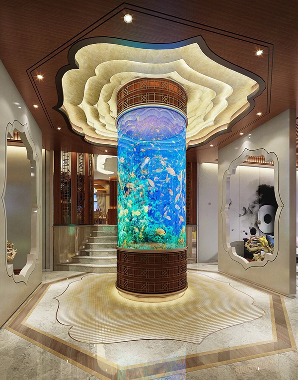 Luxury Home Interiors With Beautiful Aquarium Decor