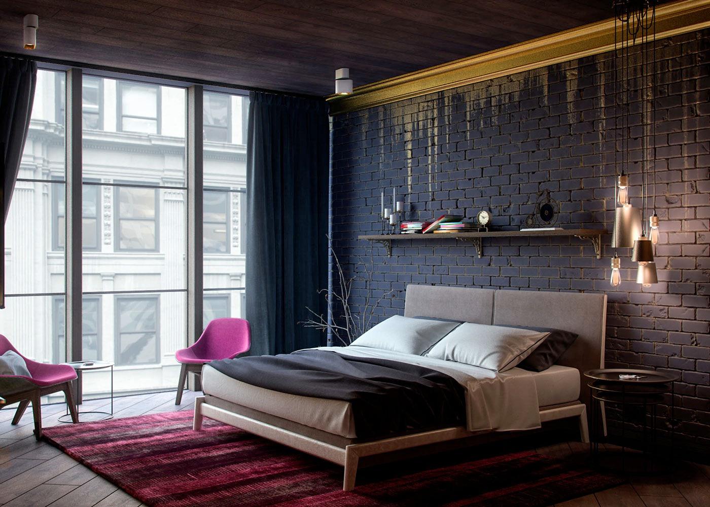 black brick wall bedroomblack brick wall bedroom