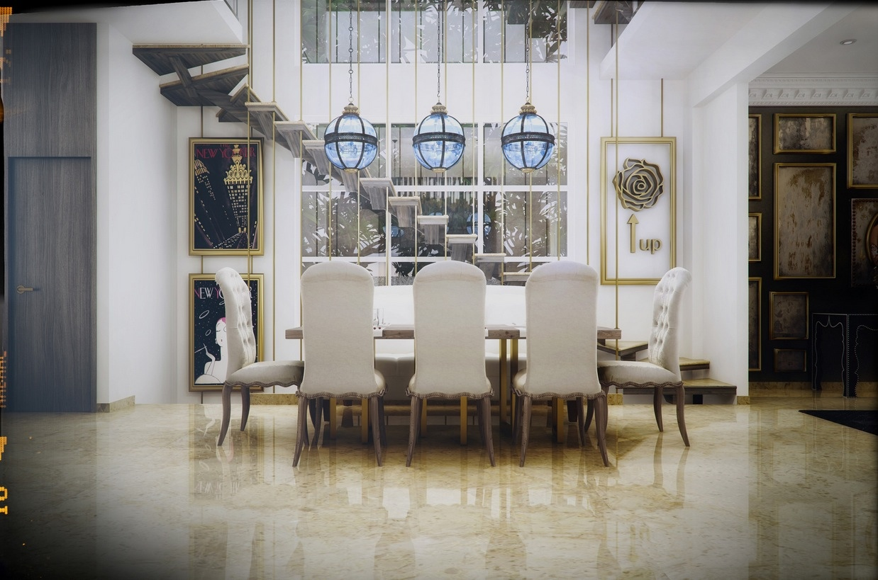 modern white color dining room