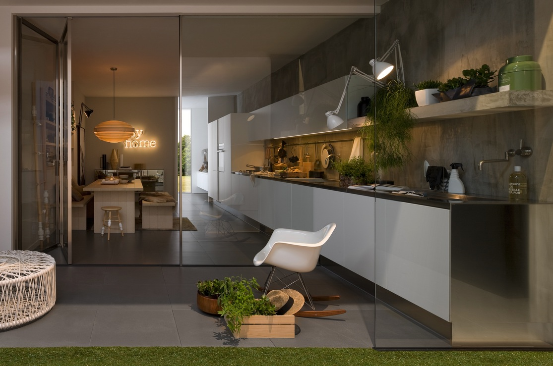 Simple Kitchen With Aluminium Furniture Design For Small Space By Arclinea Roohome Designs