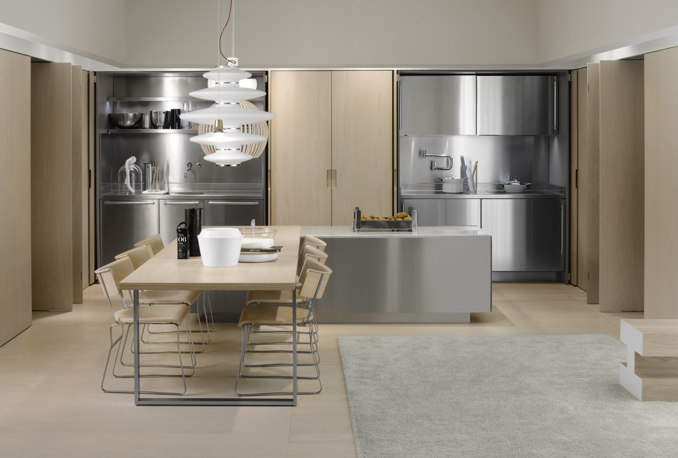 simple kitchen with aluminium designs