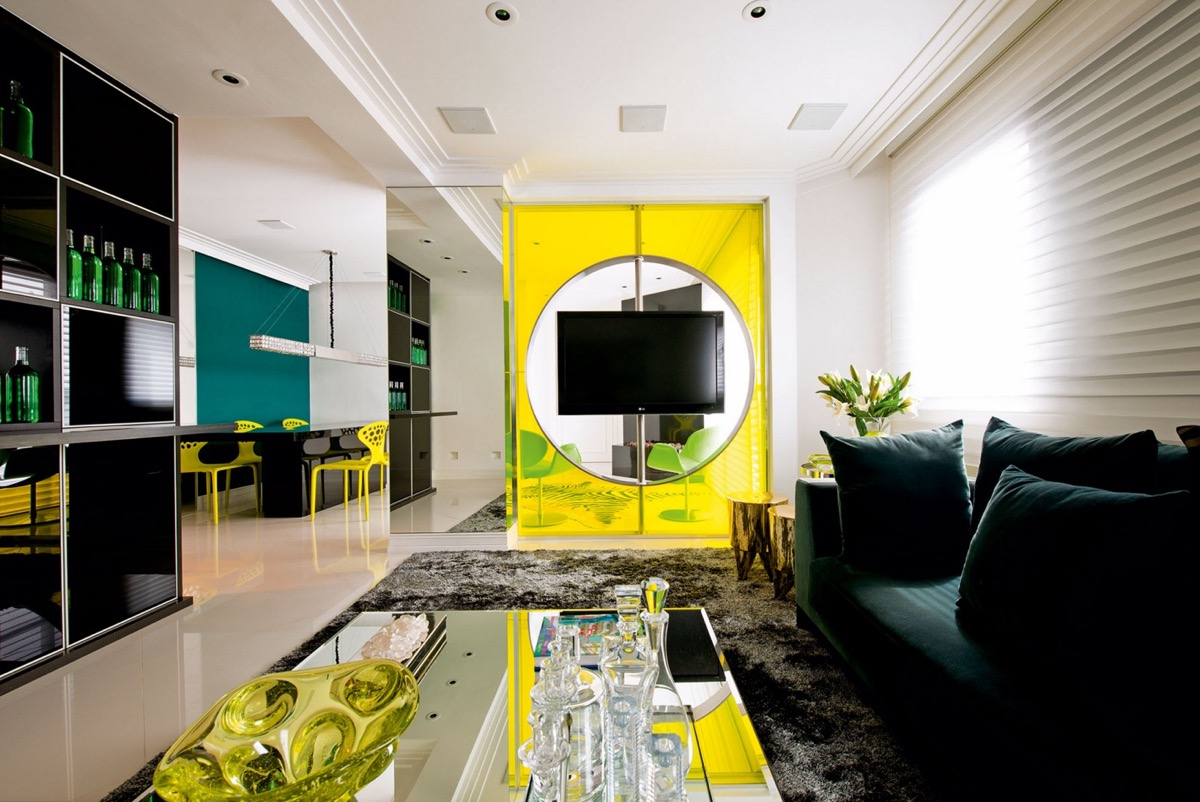 yellow accent in living room