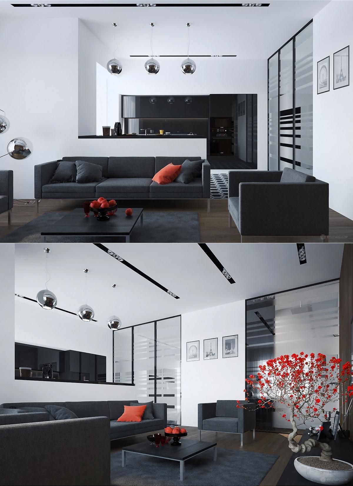 modern black color living room