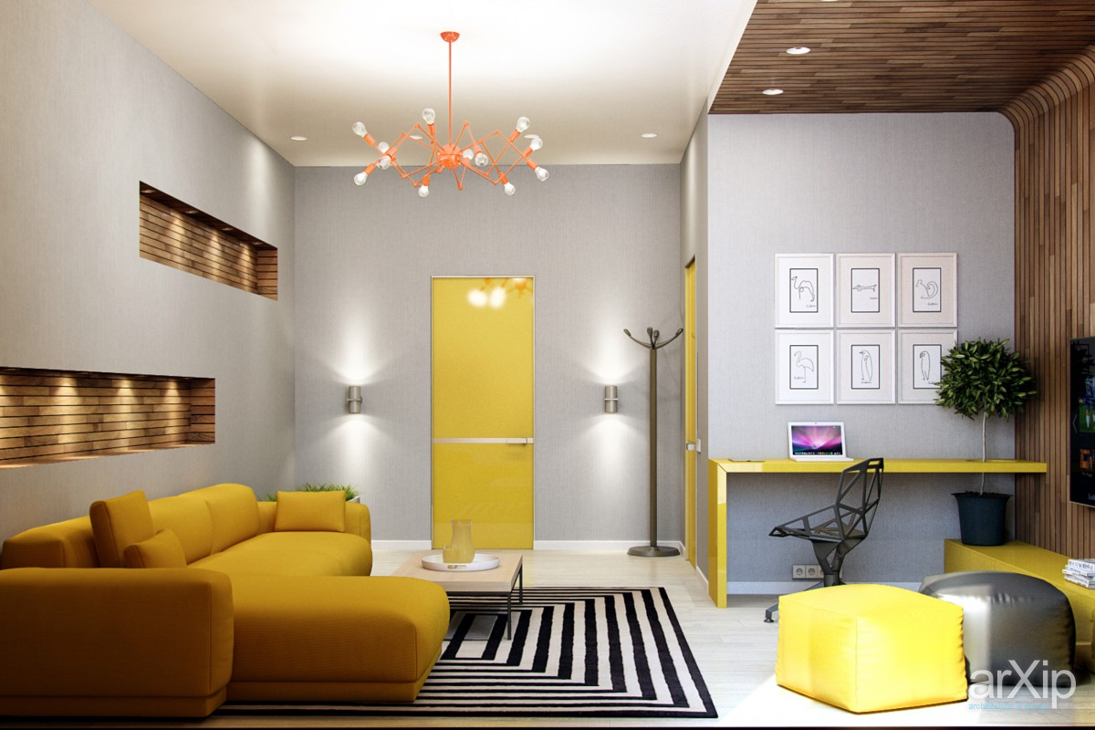 modern yellow accents