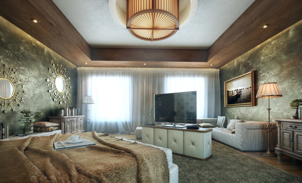 soft color bedroom feature wall