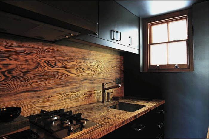 wooden kitchen wall