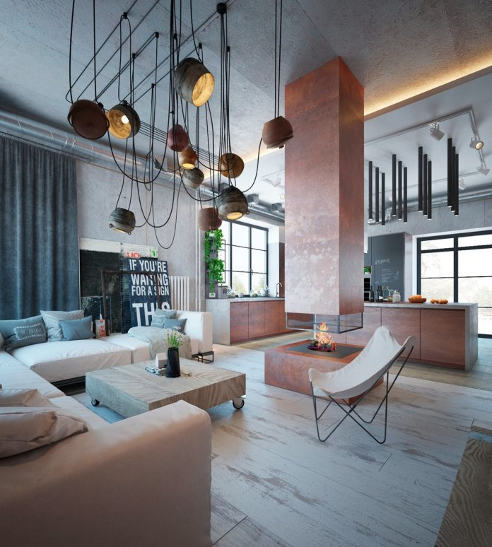 An Industrial Home With Warm Hues: Modern Apartment Decor With The Industrial And Warm Color