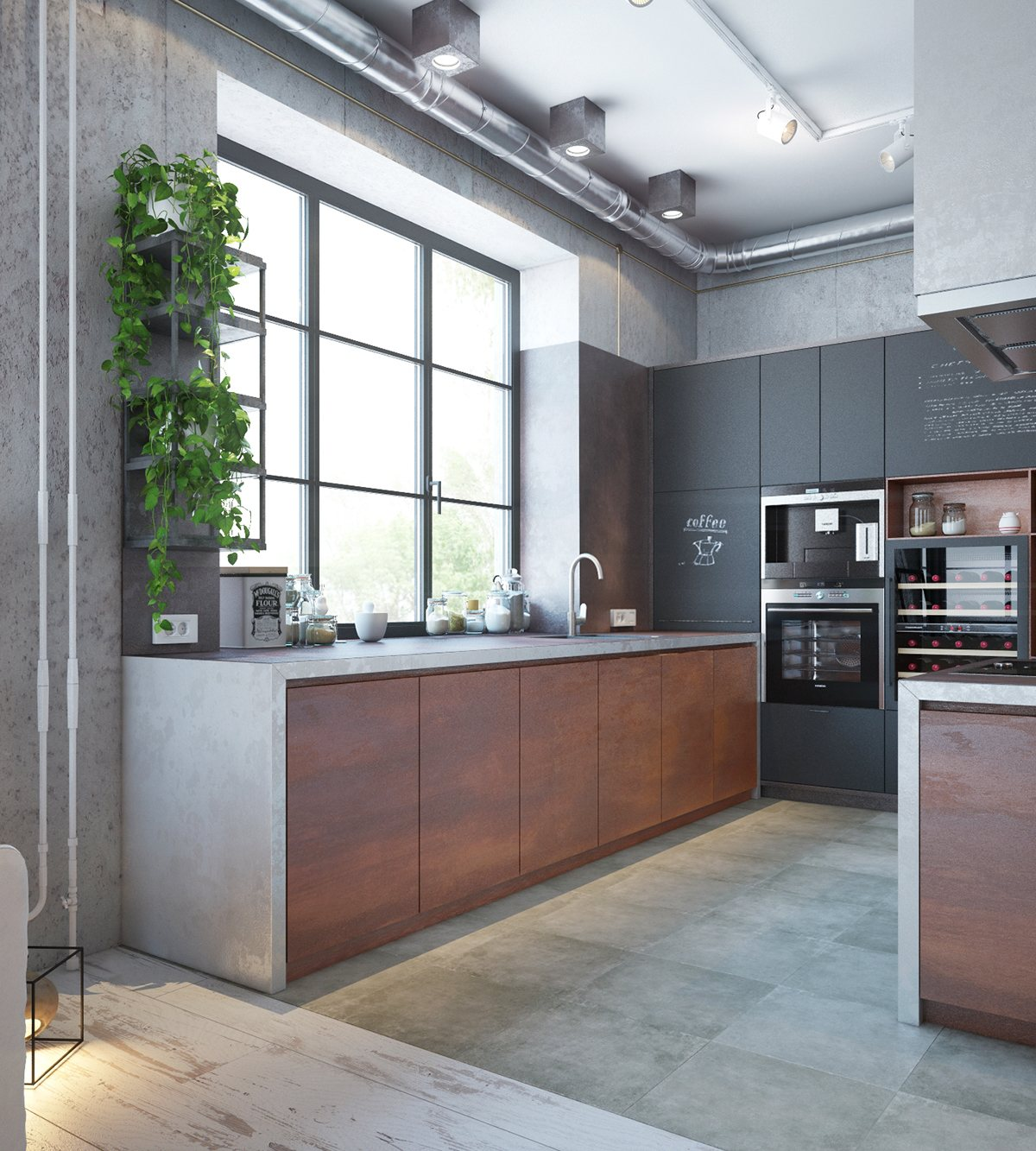 modern apartment with industrial theme