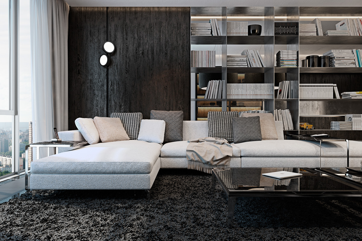 8 living room interior designs and layout with dramatic for Living room ideas dark