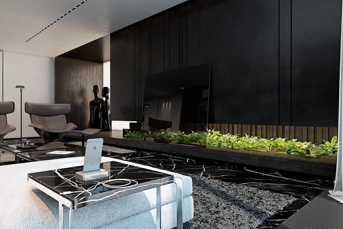 Dark living room design