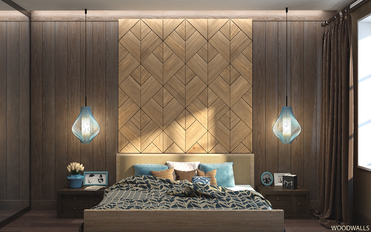 geometric wood wall pattern