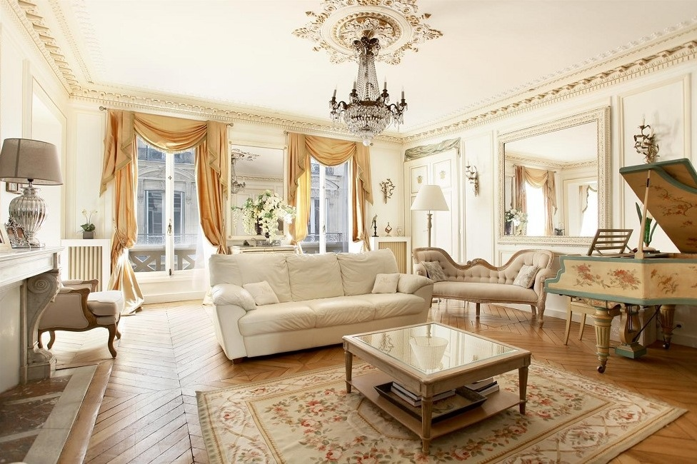 Beautiful french living room style design ideas roohome for Living room in french