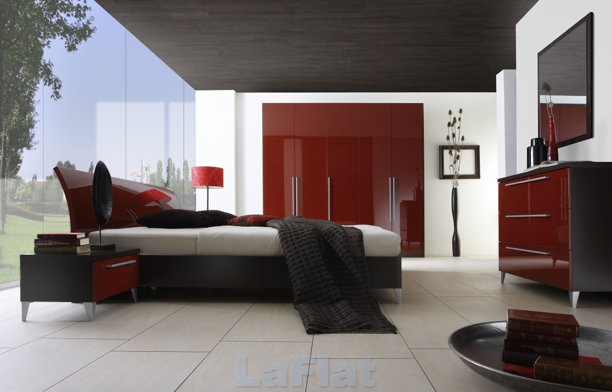 simple red bedroom design