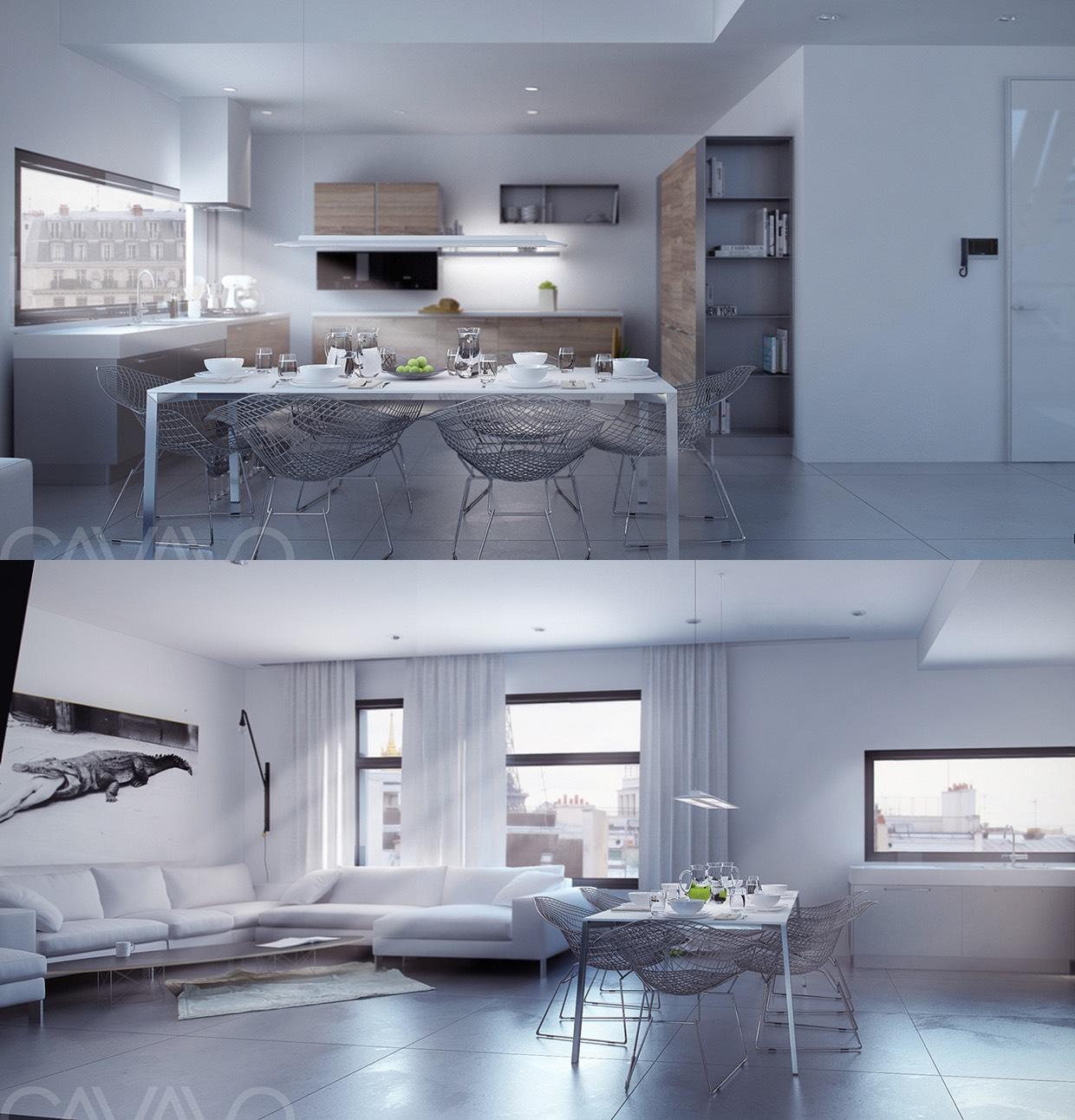 white modern dining room