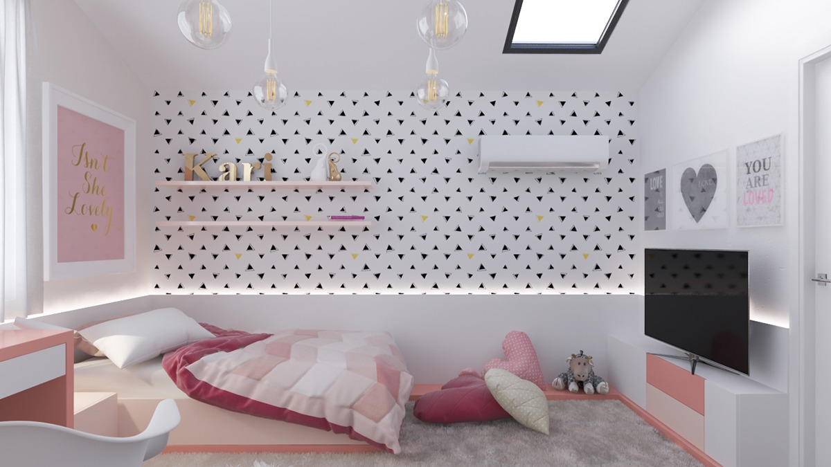 pinky kids room design